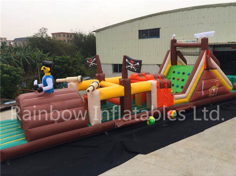 RB5071(15.8x3.4x5.7m) Inflatable rainbow Pirate theme Obstacle Course for sale