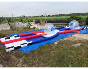 Sports Game Inflatable 2 Lanes Zorb Ball X Track Durable Race Truck Rental