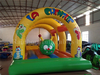 RB1027(6x4m)Inflatable Rainbow Caterpillar bouncy castle