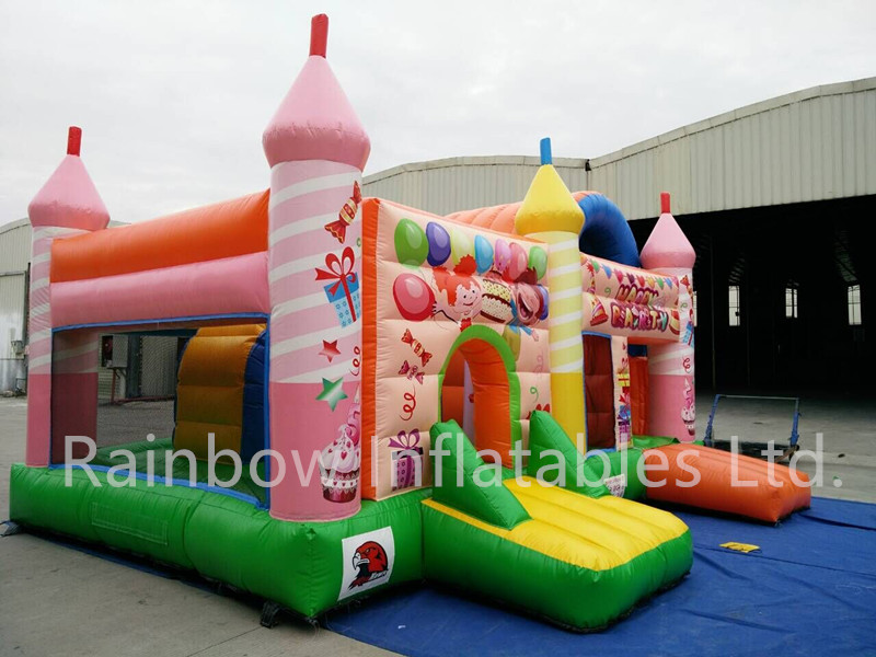 RB2009(6x5m) Inflatable Pink and green children park combo house bouncer and slide