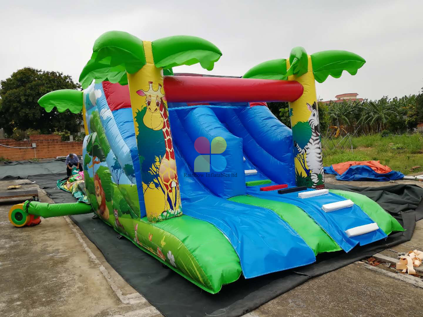 Small Size Inflatable Jungle Dray Slide Indoor Game