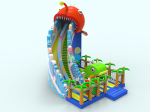 Inflatable Funcity Newest Lantern Fish Theme with Climbing Wall And Wave Giant Slide Ocean Theme Playground