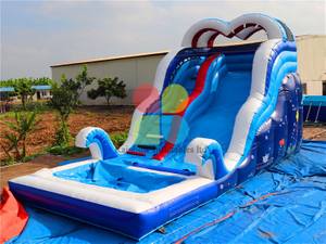 High Quality Commercial Inflatable Crazy Wave Theme Water Slide with Pool