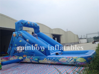 Small Outdoor Inflatable Undersea Theme Water Slide For Kids