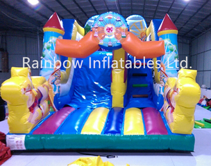 Inddor Commercial Inflatable Dry Slide for Kids with Cartoon Pattern