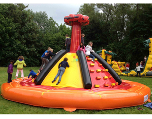 New Inflatable Volcano Slide with Rock Wall Combo for Kids Playground