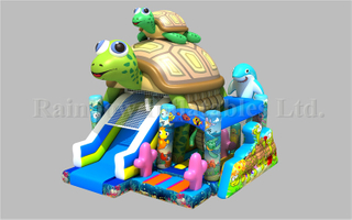 Commercial Durable Inflatable Sea Turtle Theme Combo for Kids