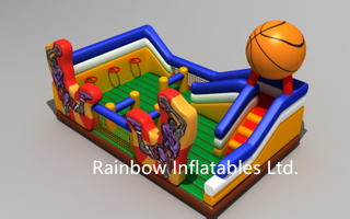 RB09001(5x7m)Inflatable Basketball Obstacle Bouncer and Slide