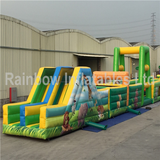 RB5038-2(25x3.7x5m)Inflatable Animal theme kids long obstacle courses equipment