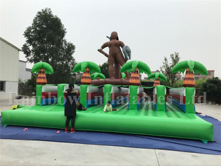 Customized Outdoor Inflatable Wild Theme Bungee Run Running Track for Kids