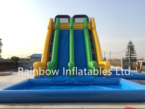 Large Outdoor Commercial Inflatable Water Slide with Pool for Amusement Park