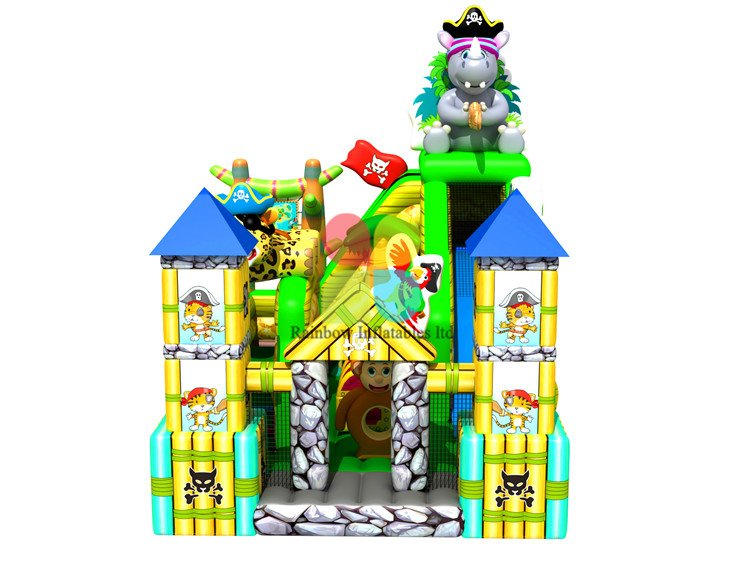RB01017(8x5.5m) Inflatable Jungle Theme Obstacle Hippo Funcity