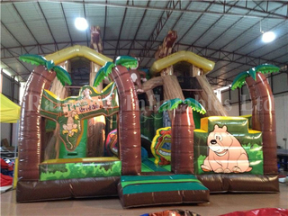 RB6037(8x7m)Inflatable Forest Bridge theme dry slide
