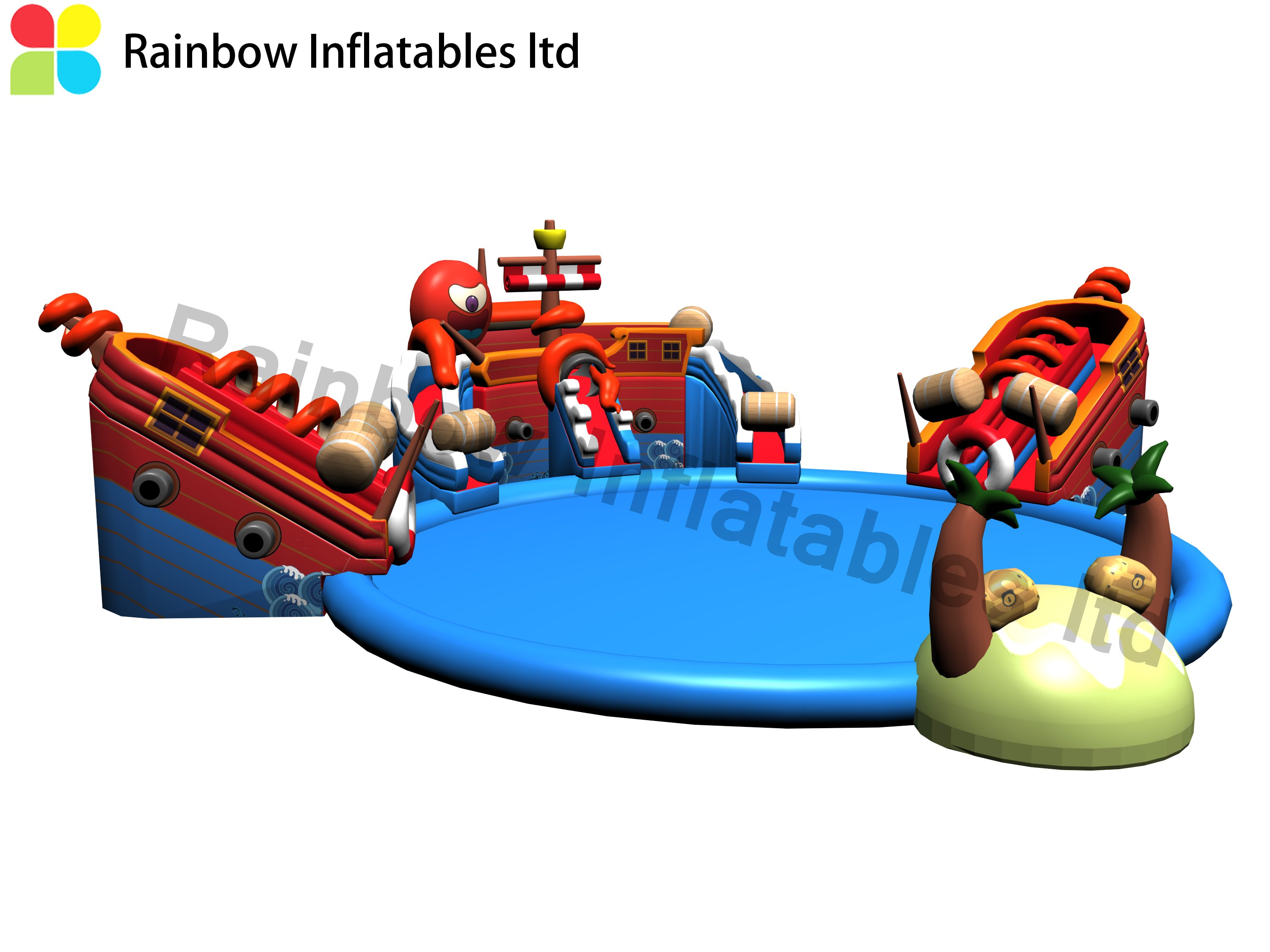 Huge New Design Outdoor Commercial Inflatable Pirate Theme Ground Water Park for Sale