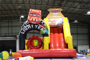 Commercial Inflatable Race Cars Bounce Castle Slide Obstacle Course
