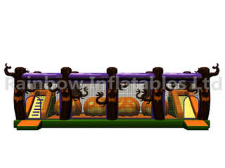 RB05206(12x5.5x4m) Inflatable Halloween Pumpkin Obstacle Course