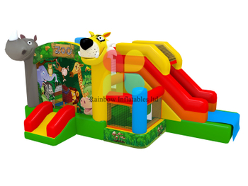 Durable Zoo Inflatable Jumping Bouncy combo with slide