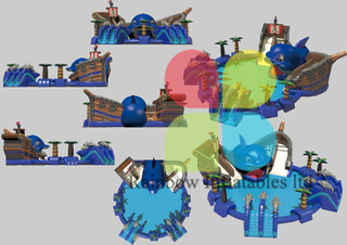 New Design Giant Whale Pirate Ship Theme Inflatable Land water park