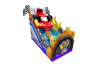 Racing Car Theme big wheels inflatable jumping Bouncy Dry slide