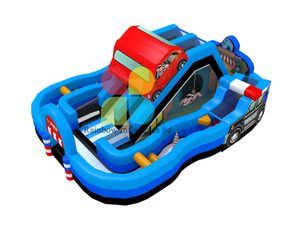 New design Crazy Car Inflatable slide Obstacle course Funcity