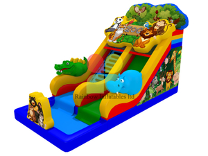Chinese Factory Animal Zoo inflatable Bouncy water slide