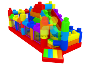 Colorful Lego puzzle Inflatable Playground Jumper Bouncy slide