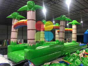green inflatable double lines coconut tree slide with small pool