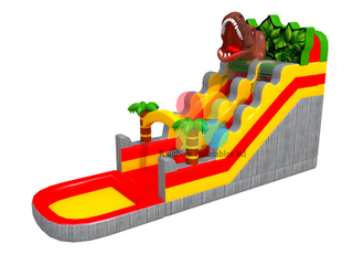 Grey Wave pattern inflatable dinosaur water slide with small pool for kids playing