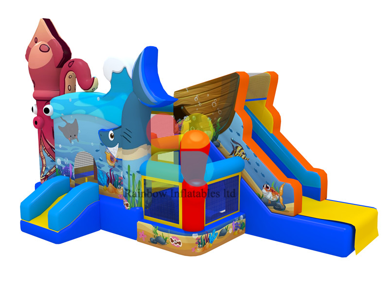 Customized Ocean Undersea Inflatable Jumping combo Castle with slide