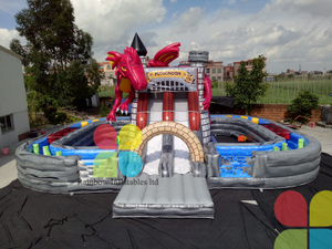 China manufacturer grey inflatable dinosaur double slides combo with obstacle