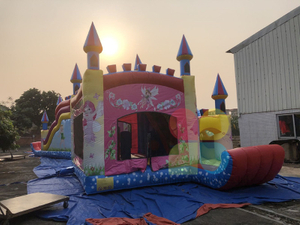 inflatable pink princess bouncer castle with slide for party