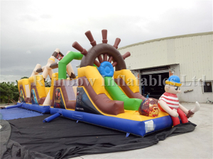 RB01016 (15x3.6x5.8m) Inflatable Promotion Pirate Obstacle /Hot Sales Children Inflatable Obstacle